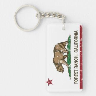 Bandera de la república de California del rancho Llavero Rectangular Acrílico A Doble Cara