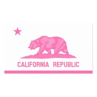 Bandera de la república de California (rosa) Tarjetas De Visita