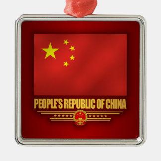 Bandera de la República de China de la gente Adorno Navideño Cuadrado De Metal