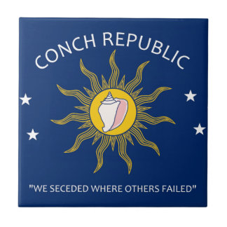 Bandera de la república de la concha azulejo cuadrado pequeño
