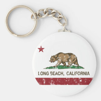Bandera de la república de Long Beach California Llavero Redondo Tipo Pin