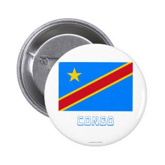 Bandera de la república Democratic de Congo con no Pin Redondo 5 Cm