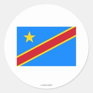 Bandera de la república Democratic de Congo Pegatina Redonda