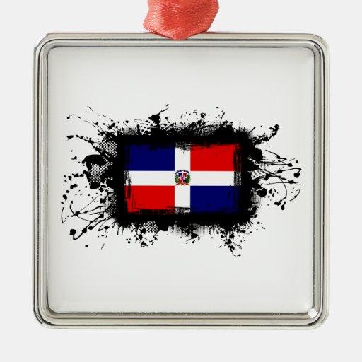 Bandera de la República Dominicana Adorno Navideño Cuadrado De Metal