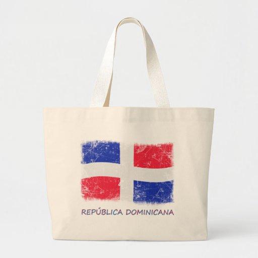 Bandera de la República Dominicana del Grunge Bolsa Tela Grande