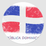 Bandera de la República Dominicana del Grunge Pegatina Redonda