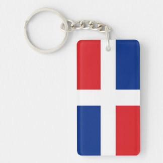 Bandera de la República Dominicana Llavero Rectangular Acrílico A Doble Cara