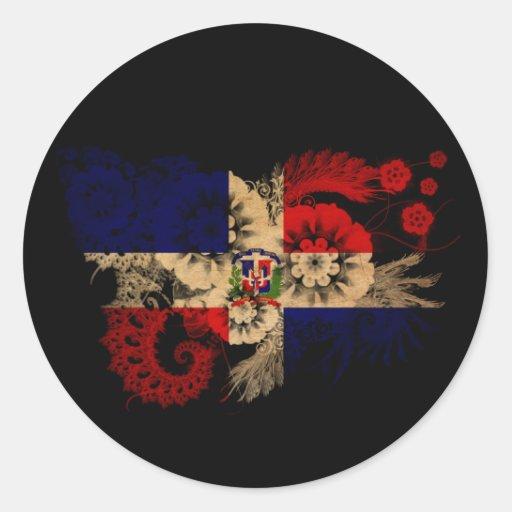 Bandera de la República Dominicana Etiqueta Redonda