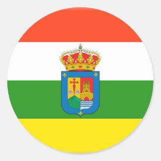 Bandera de La Rioja (España) Pegatina Redonda