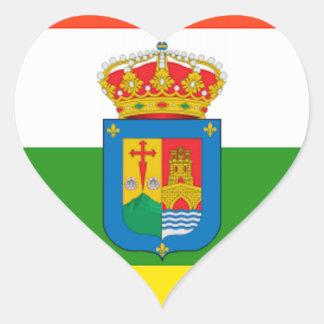 Bandera de La Rioja (España) Pegatina En Forma De Corazón