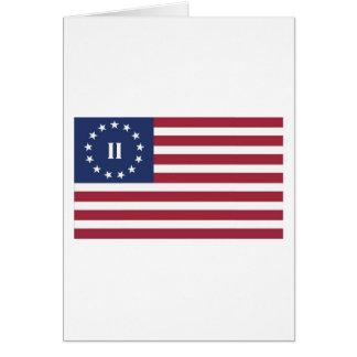Bandera de la segunda revolución americana tarjeta de felicitación