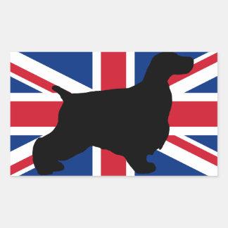 bandera de la silueta de cocker spaniel del inglés pegatina rectangular