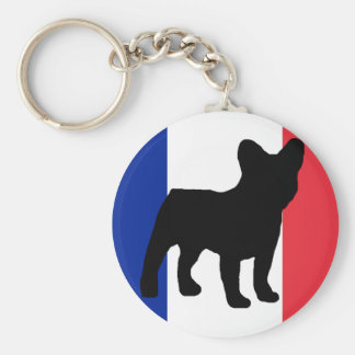 bandera de la silueta del dogo francés llavero redondo tipo pin