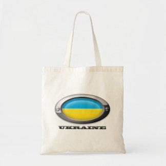 Bandera de la Ucrania en el marco de acero Bolsa Tela Barata