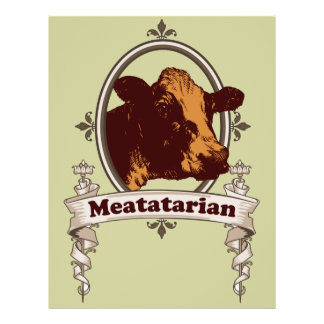 Bandera de la vaca de Meatatarian Tarjetones