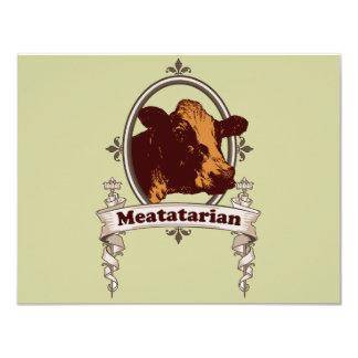 """Bandera de la vaca de Meatatarian Invitación 4.25"""" X 5.5"""""""
