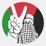 Bandera de la victoria de Palestina Etiquetas Redondas