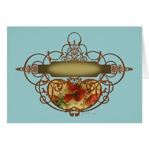 Bandera de la voluta de la amapola tarjeta de felicitación
