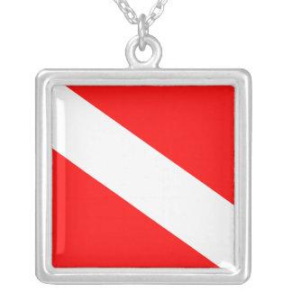 Bandera de la zambullida collar plateado