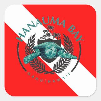 Bandera de la zambullida de Hawaii Pegatina Cuadrada