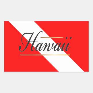 Bandera de la zambullida de Hawaii Pegatina Rectangular