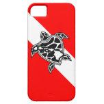 Bandera de la zambullida de la tortuga de Hawaii iPhone 5 Cárcasas
