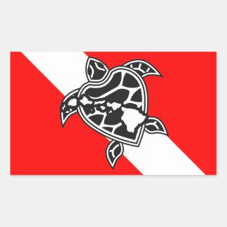 Bandera de la zambullida de la tortuga de Hawaii Pegatina Rectangular