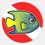 Bandera de la zambullida del Angelfish de la reina Etiqueta Redonda