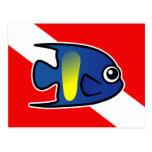 Bandera de la zambullida del Angelfish de Yellowba Tarjetas Postales