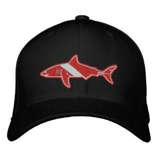 Bandera de la zambullida del buceador del tiburón gorra de beisbol