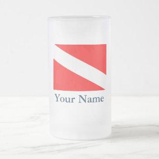 Bandera de la zambullida (personalizable) taza de cristal