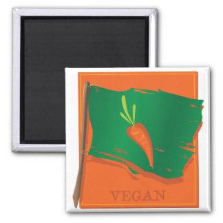 Bandera de la zanahoria del vegano imanes de nevera