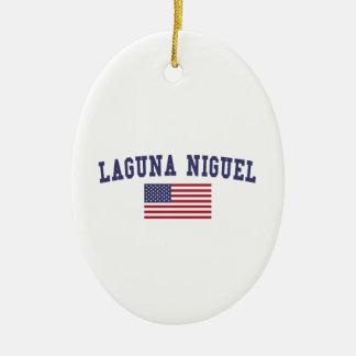 Bandera de Laguna Niguel los E.E.U.U. Adorno Navideño Ovalado De Cerámica