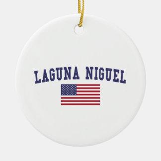 Bandera de Laguna Niguel los E.E.U.U. Adorno Navideño Redondo De Cerámica