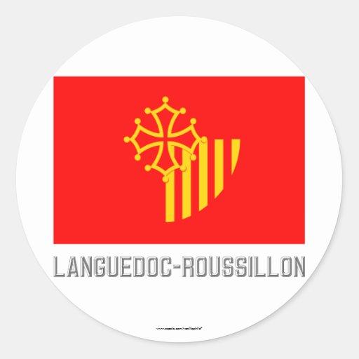 Bandera de Languedoc-Rosellón con nombre Pegatina Redonda