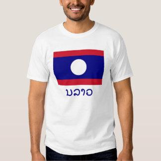 Bandera de Laos con nombre en Lao Camisas
