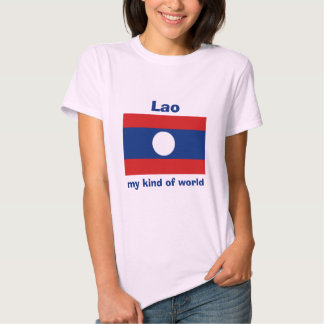 Bandera de Laos + Mapa + Camiseta del texto Playera