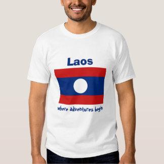 Bandera de Laos + Mapa + Camiseta del texto Poleras