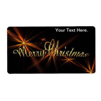 Bandera de las Felices Navidad en el negro - día Etiqueta De Envío