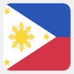 Bandera de las Filipinas Colcomanias Cuadradas