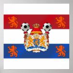 Bandera de las ilustraciones holandesas del fútbol poster