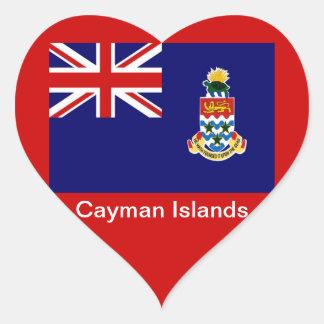 Bandera de las Islas Caimán Pegatina En Forma De Corazón