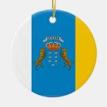 Bandera de las islas Canarias (España) Adorno Navideño Redondo De Cerámica