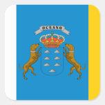 Bandera de las islas Canarias (España) Calcomanías Cuadradass