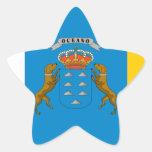 Bandera de las islas Canarias (España) Pegatina En Forma De Estrella