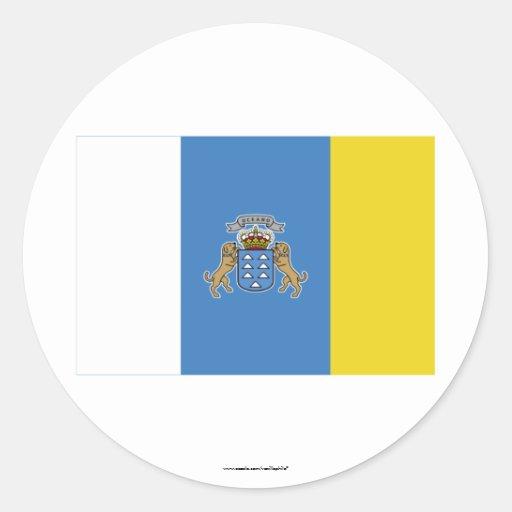 Bandera de las islas Canarias Pegatina Redonda