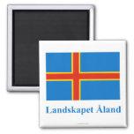 Bandera de las islas de Aland con nombre en sueco Imanes De Nevera