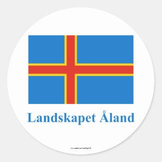 Bandera de las islas de Aland con nombre en sueco Pegatina Redonda