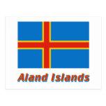 Bandera de las islas de Aland con nombre Tarjeta Postal