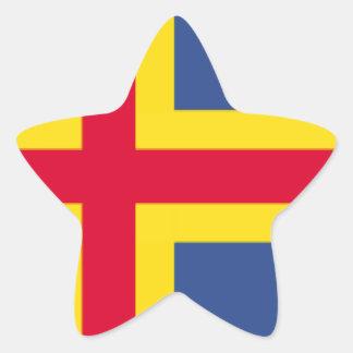 Bandera de las islas de Aland Pegatina En Forma De Estrella